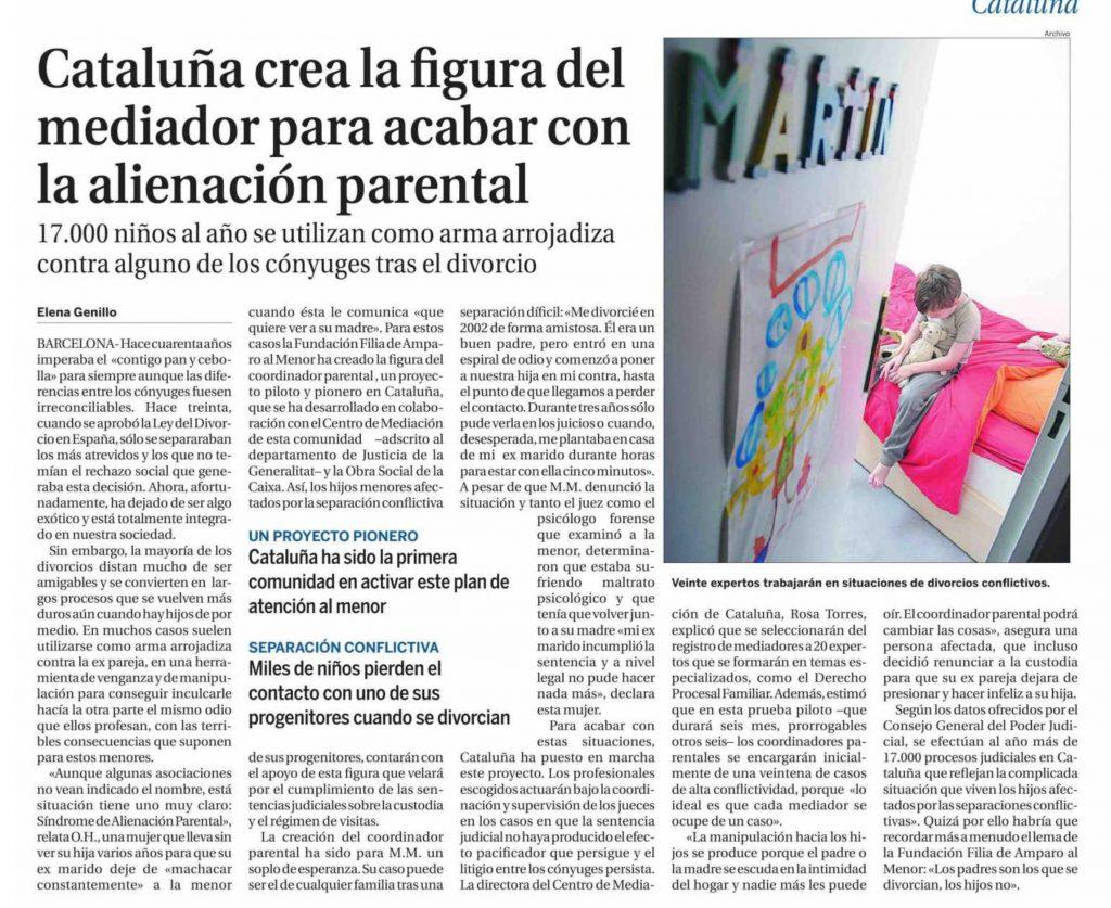 proyecto Noticia del proyecto piloto coordinador parental en la edición catalana de La Razón