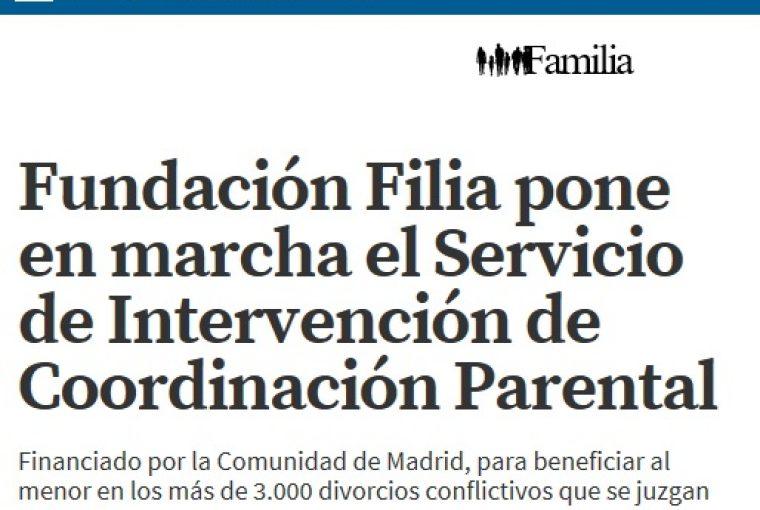 Fundación Filia y el Servicio de Intervención de Coordinación Parental en La Razón