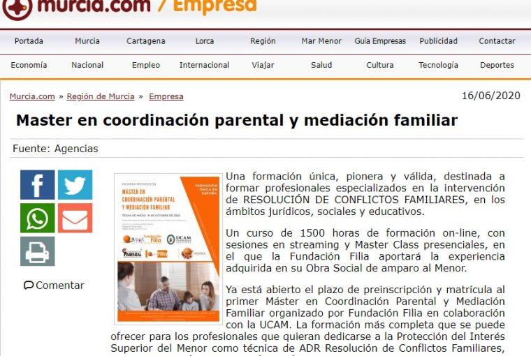 Murcia.com publica el Máster en Coordinación Parental y Mediación Familiar